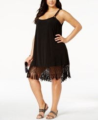 Dotti Plus Size Macrame Fringe Cover Up Women's Swimsuit Black