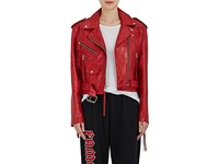 Adaptation Women's Wrinkled Leather Moto Jacket Red