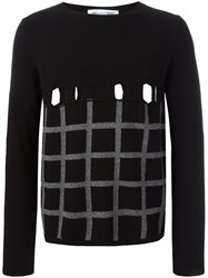 Comme Des Garcons Shirt Perforated Checked Jumper Black