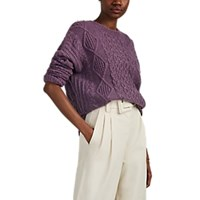 Nsf Shredded Cable Knit Wool Blend Sweater Lilac