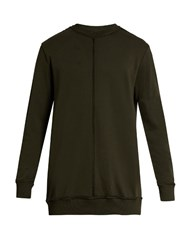 Damir Doma Walken Extended Seam Cotton Sweatshirt Dark Green