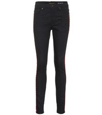 Saint Laurent Embroidered Cotton Skinny Jeans Black
