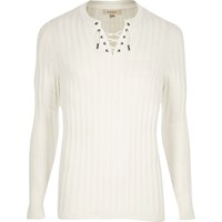 River Island Mens White Lace Up Slim Fit Top