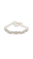 Marchesa Crystal Embroidered Belt Ivory