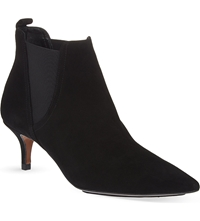 Whistles Oregan Suede Kitten Heel Boots Black