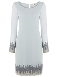 Raishma Silver Embellished Dress Ice Blue