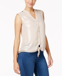 Thalia Sodi Tie Front Blouse Only At Macy's Shimmer Rose