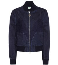 Stella Mccartney Lace Trimmed Denim Bomber Blue