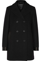 Tom Ford Leather Trimmed Stretch Wool Peacoat Black