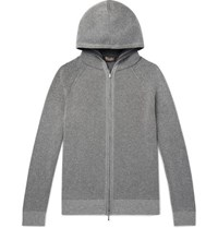 Loro Piana Slim Fit Ribbed Baby Cashmere Zip Up Hoodie Gray
