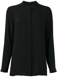 Jil Sander Navy Collarless Long Sleeve Shirt Black