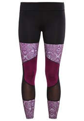 Evenandodd Active Tights Black Dark Purple