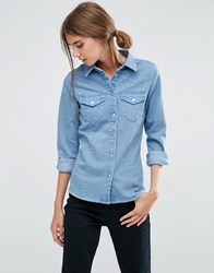 Asos Denim Fitted Western Shirt In Manon Light Wash Blue Light Wash Blue