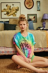 Urban Outfitters Tie Dye Acdc Tee Blue Multi