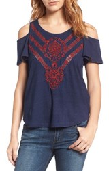 Lucky Brand Women's Embroidered Cold Shoulder Top