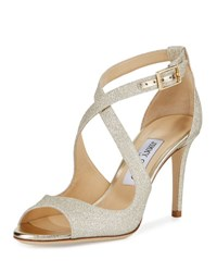 Jimmy Choo Emily Glitter Crisscross 85Mm Sandal Gold