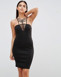 Club L V Neck Cage Detail Mini Dress Black