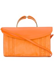 Mansur Gavriel Flap Closure Clutch Women Leather One Size Yellow Orange