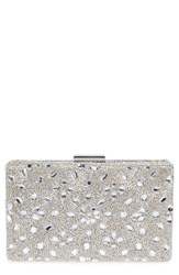 Nordstrom Medallion Beaded Minaudiere Metallic Silver