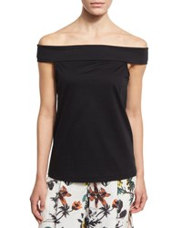 Tibi Mercerized Knit Off The Shoulder Top Black