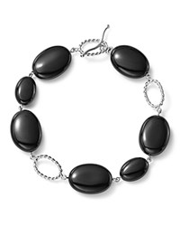 Bloomingdale's Sterling Silver And Onyx Station Bracelet 100 Exclusive Black Silver