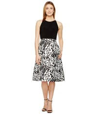 Adrianna Papell Jersey And Mikado Party Dress White Black Women's Dress