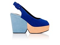Robert Clergerie Women's Dylanam Colorblocked Suede Platform Sandals Peach Blue Light Blue