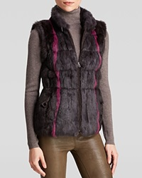 Jocelyn Reversible Striped Rabbit Fur And Knit Vest