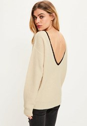 Missguided Nude Lace V Back Jumper Camel