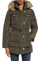 Michael Michael Kors Women's Faux Fur Trim Belted Down And Feather Fill Coat Dark Moss