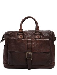 Campomaggi Vintage Effect Leather Briefcase Brown