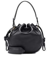 Etro Medium Leather Bucket Bag Black