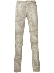Etro Printed Tapered Trousers Nude Neutrals