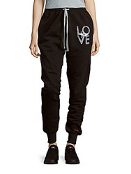 Peace Love World Graphic Printed Relaxed Fit Pants Black