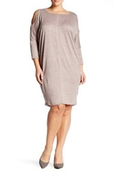 Bobeau Cocoon French Terry Dress Plus Size Pink