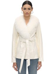 Saks Potts Patent Leather And Shearling Jacket White