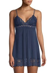In Bloom Fairchild Lace Trim Knit Chemise Navy