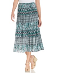 Jm Collection Mesh Mixed Print Maxi Skirt Teal Bell