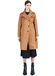 Yang Li Oversized 50S Creased Coat Brown