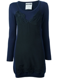 Moschino Lace Overlay Dress Blue