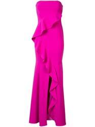 Jay Godfrey Ruffled Strapless Gown Pink Purple