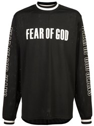Fear Of God Perforated Logo Printed Top Black
