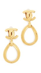 Wgaca Chanel Tear Drop Cc Earrings Previously Owned Gold