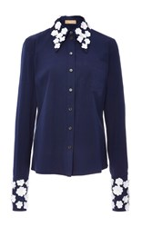 Michael Kors Embroidered Collar And Cuff Button Down Shirt Navy