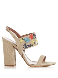 Tabitha Simmons Senna Meadow Embroidered Linen Sandals Beige Multi