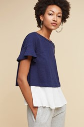 Anthropologie Layered Button Back Top Navy