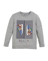 Mayoral Long Sleeve Sneakers Tee Size 3 7 Gray