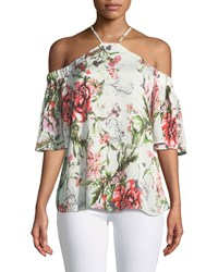 Dex Halter Neck Cold Shoulder Floral Blouse Red