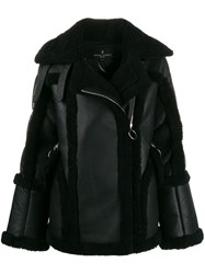 Nicole Benisti Montaigne Shearling Trimmed Jacket Black