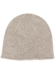 Pringle Of Scotland Lion Emblem Cashmere Beanie In Taupe Nude And Neutrals